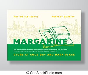 Margarine Dairy Food Label Template. Abstract Vector Packaging Design Layout. Modern Typography Banner with Hand Drawn Butter Piece and Rural Landscape Background. Isolated.