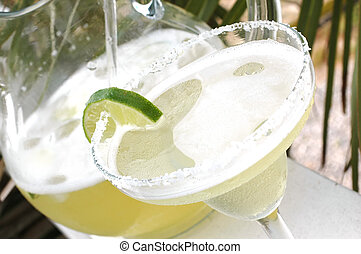 Margarita and pitcher with salt and lime with palm tree in background.