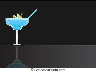Margarita blue curacao cocktail on black mirrored background...