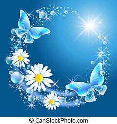 margarita, cielo, mariposas