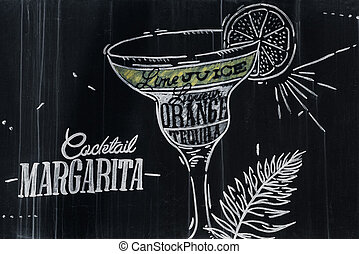 Margarita cocktail drawing with chalk on blackboard