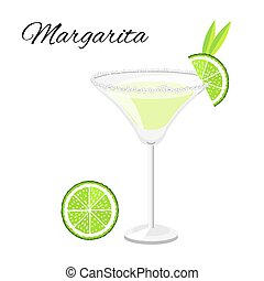 Margarita cocktail  isolated on white