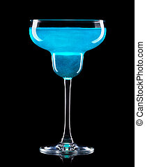 Margarita cocktail with blue curacao isolated on a black background