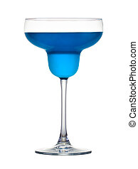 Margarita cocktail with blue curacao isolated on a white background