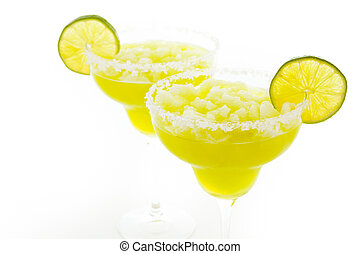 Margarita cocktail with slice of lime as a garnish.