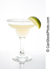 Margarita cocktails with lime in glass isolated on white background