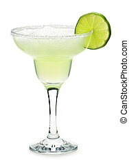 Margarita in a glass - Margarita in glass with lime isolated...