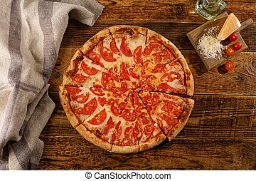margarita, ingredients., pizza, encore, bois, table., vie