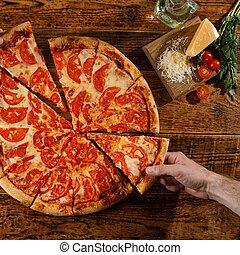 margarita, ingredients., pizza, encore, main bois, vue., table., sommet, vie