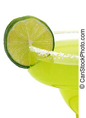 Margarita Isolated 2 - a closeup of a lime on the salty rim...