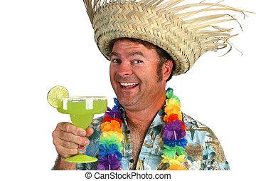 Margarita Man Happy - a man in a hawaiian shirt, lei, and...