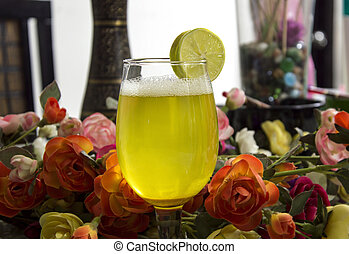 Margarita on Table with Flowers