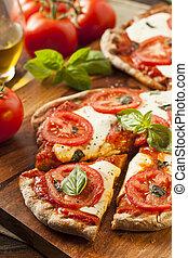 margarita, orgânica, caseiro, pizza