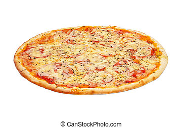 Margarita Pizza On White Background