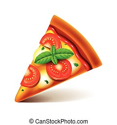 Margarita pizza slice isolated on white vector - Margarita...
