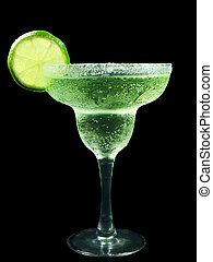margarita with lime and salt isolated on black