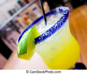 margarita - Festive Mexican margarita with lime wedge and...