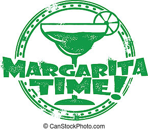Margarita Time Stamp - Distressed vector stamp featuring...