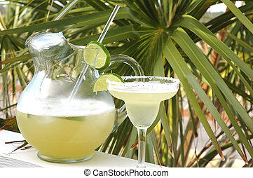 Margarita with salt and lime with pitcher and palm tree in...