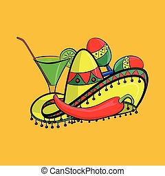 Margarita with sombrero, jalapeno and maracas, grouped for easy editing. No open shapes or paths.