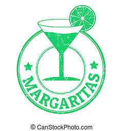 Margaritas stamp - Margaritas grunge rubber stamp on white...