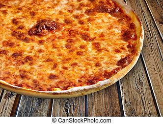 margherita, 木製である, textured, ピザ, テーブル