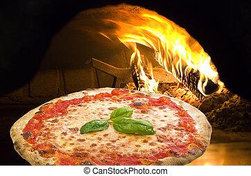 margherita pizza, en, un, horno de pizza