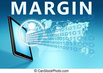 Margin illustration with tablet computer on blue background
