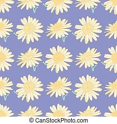 Marguerite Daisy Seamless Vector Pattern