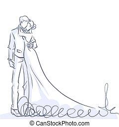marié., élégant, mariée, vecteur, dessin animé, beau