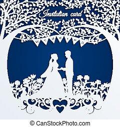 marié., silhouette, mariage, mariée, invitation, carte