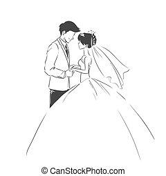 marié., type., mariage, croquis, mariée, invitation, carte
