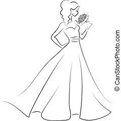 mariée, à, bouquet