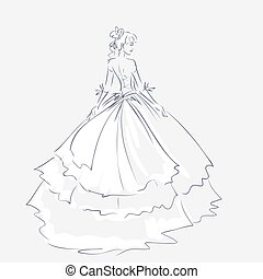 mariée, élégant, robe, mariage