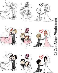 mariée, 3, palefrenier, actio, agréable