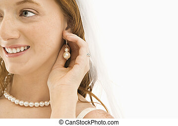 mariée, ajustement, earring.