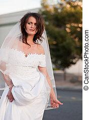 mariée, auto-stop, fugitif