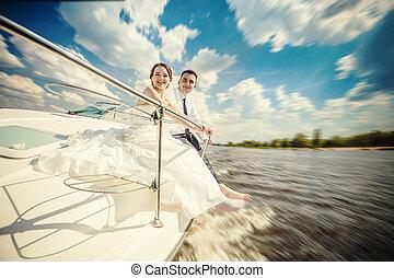 mariée, bateau, palefrenier