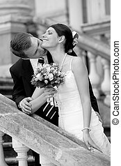 mariée, blanc, palefrenier, mariage