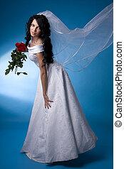 mariée, brunette, roses rouges