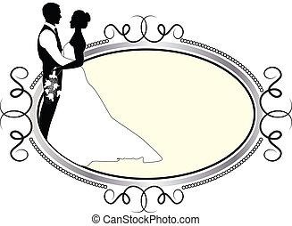 mariée, cadre, palefrenier, argent