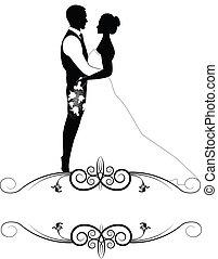 mariée, cadre, palefrenier, orné