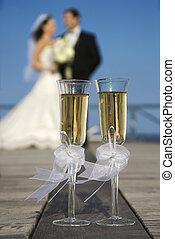 mariée, champagne., palefrenier