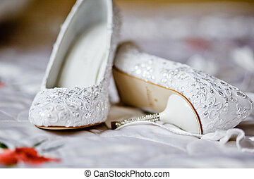 mariée, chaussures, mariage