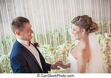 mariée, contact, oeil, palefrenier