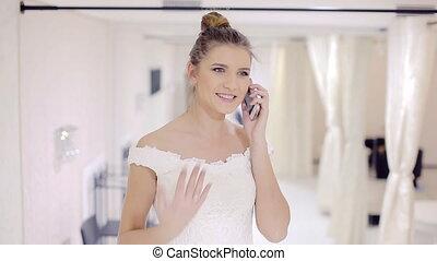 mariée, conversation, nuptial, magasin, téléphone