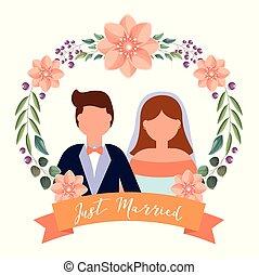 mariée, couple, palefrenier, conception, avatar