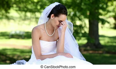 mariée, désordre, pleurer