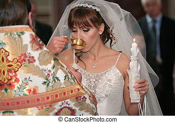 mariée, dans, a, église, cérémonie