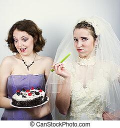 mariée, essayer, suivre régime